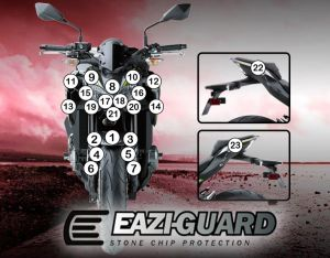 Eazi-Guard Paint Protection Film for Kawasaki Z900 2017 - 2019, gloss or matte